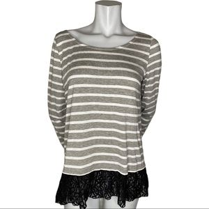 Entro Grey and White Striped Top with Lace Trim S